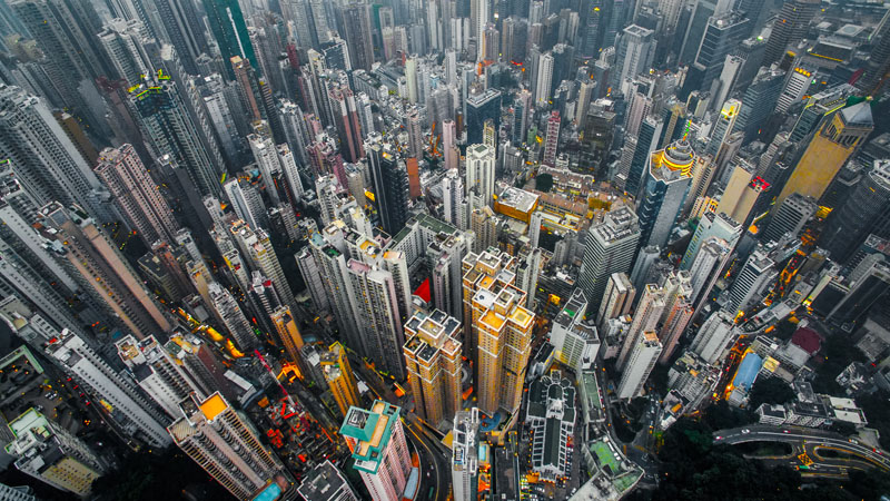 high density city image
