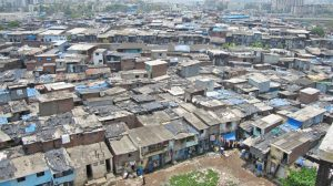 Drone flying over slums in India