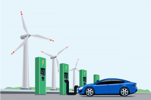 Graphic of renewable energy with a windmill and plugged-in AV.