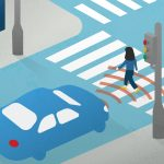 autonomous vehicle at crosswalk image