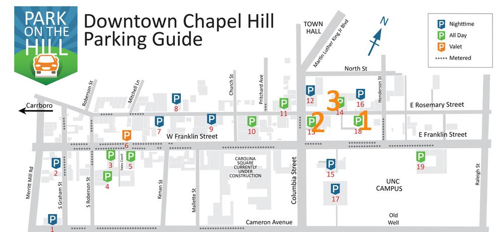 Downtown Chapel Hill parking lot maps